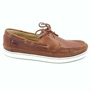 Sebago Mens Ryde Two Eye Boat Shoes Brown 12